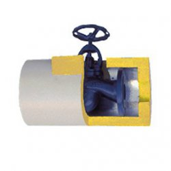 Isotherm - PUR cover for the gate valve, flange valve in the PVC jacket